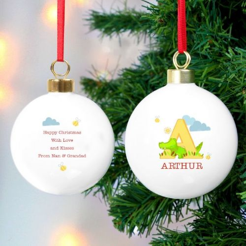 Personalised Girls Animal Alphabet Bauble